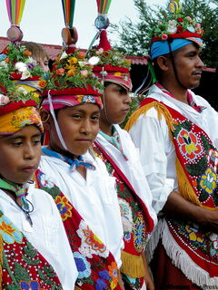 Totonac dance troupe in traditional dress.