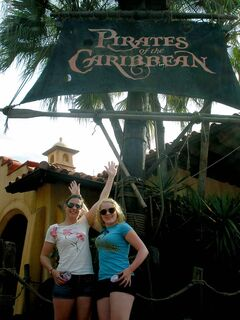 Ashley and Beverley outside the Pirates of the Caribbean attraction.
