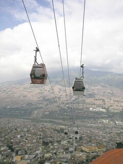 The Metrocable, part of Medellin's public transportation system, serves the residents of the steep mountainside barrios.