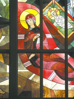 Detail of the stained glass icon of the Nativity.