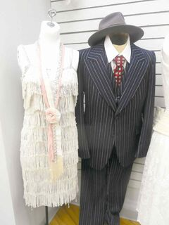 Examples of men's and women's costumes inspired by the Great Gatsby.
