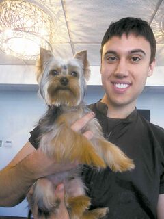 Patrick Maxwell with grooming customer, Bentley