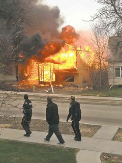 A reader's photo of the fire at 107 Jefferson Avenue.
