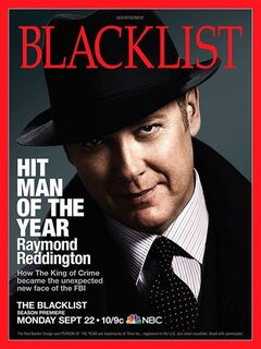 This advertisement released by NBC shows a mock magazine cover featuring James Spader in character as Raymond Reddington from the NBC series