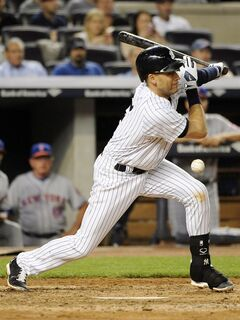 New York Yankees' Derek Jeter is out after being hit by his own batted ball during his at bat against New York Mets relief pitcher, Carlos Torres in the sixth inning of an interleague baseball game at Yankee Stadium on Monday, May 12, 2014, in New York. The Mets won 9-7. (AP Photo/Kathy Kmonicek)