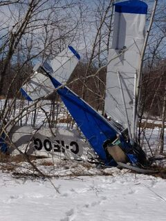 Two people were injured when this Reis Azuro ultra-light plane crashed near Gull Lake today about 2 p.m.