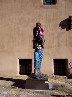 A statue outside one of Santa Fe's many galleries.