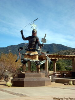 A fierce warrior sculpture on Museum Hill.