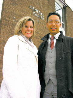 Former General Vanier School students Robyn Koropatnick and Dr. Brent Wong.
