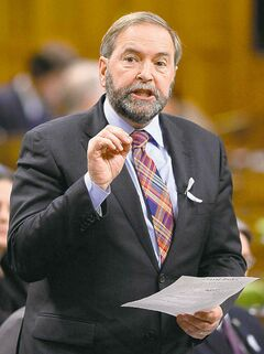 NDP Leader Tom Mulcair asks a question in the House of Commons on Monday.
