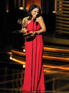 "Julia Louis-Dreyfus accepts the award for outstanding lead actress in a comedy series for her work on ""Veep"" at the 66th Annual Primetime Emmy Awards at the Nokia Theatre L.A. Live on Monday, Aug. 25, 2014, in Los Angeles. (Photo by Chris Pizzello/Invision/AP)"