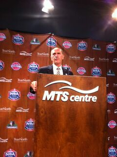 Chris Wright speaks to media at the MTS Centre.