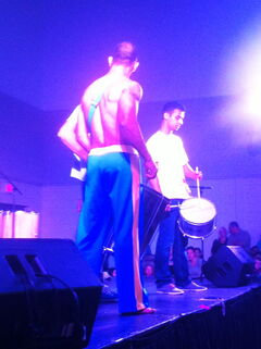 Drummers keep the beat at Folklorama's Alo Brasil pavilion at Bronx Park Community Centre on Aug. 9.