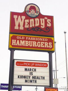 Wendy's is applauded by our columnist for its support of Kidney Month.