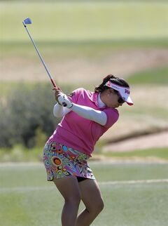 Jee Young Lee, of South Korea, hits from the seventh tee during the third round of the Founders Cup golf tournament, Saturday, March 16, 2013, in Phoenix. (AP Photo/Matt York)