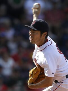 Boston Red Sox relief pitcher Koji Uehara delivers against the Cleveland Indians in the ninth inning of a baseball game on Sunday, June 15, 2014, in Boston. (AP Photo/Steven Senne)