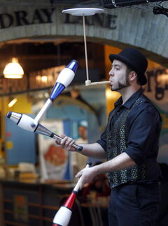 Juggler Isaac Girardin takes part in a media preview performance at The Forks Wednesday for the upcoming Circus for Circus fundraiser. The fundraiser, in support of inner-city kids in the Winnipeg International Children's Festival C.A.M.P. Program, is to be held on February 21.The cocktail event includes performances from aerialists, hoop dancers and jugglers.