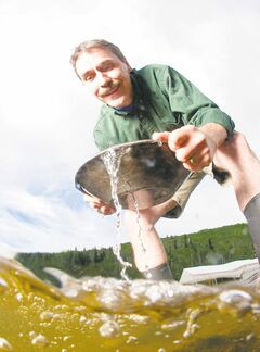 Gold panning at Gold Bottom Tours; Dawson City area.