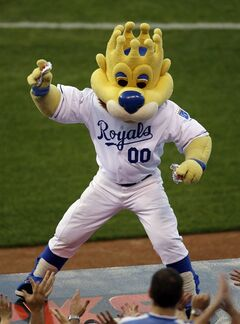 In this Monday, Aug. 24, 2009 photograph, Kansas City Royals mascot