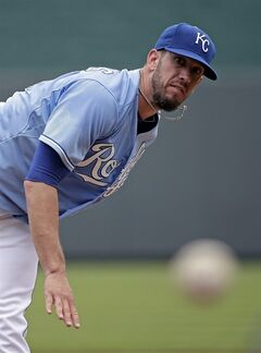Kansas City Royals starting pitcher James Shields throws during the first inning of a baseball game against the New York Yankees, Sunday, June 8, 2014, in Kansas City, Mo. (AP Photo/Charlie Riedel)
