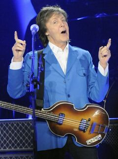 "Sir Paul McCartney performs with his band during the ""Out There"