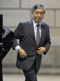 Bank of Japan Gov. Haruhiko Kuroda heads to a meeting at the headquarters of Bank of Japan in Tokyo, Wednesday, April 30, 2014. Japan's central bank was meeting Wednesday to assess the status of the country's economic recovery, as monthly data showed industrial output and wage growth falling short of expectations. (AP Photo/Kyodo News) JAPAN OUT, MANDATORY CREDIT