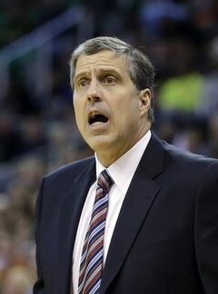 Washington Wizards coach Randy Wittman shouts to his team during the second quarter of an NBA basketball game against the Utah Jazz on Saturday, Jan. 25, 2014, in Salt Lake City. (AP Photo/Rick Bowmer)