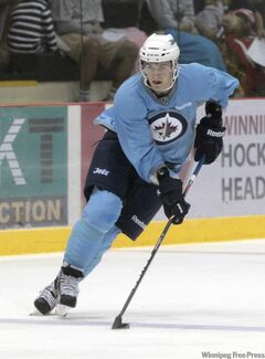 Winnipeg Jets rookie Mark Scheifele Winnipeg Jets works up a head of steam at the MTS Iceplex Saturday.