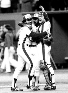 Jeff Reardon (left), Warren Cromartie (centre) and Gary Carter of the Montreal Expos celebrate a playoff win in 1981.
