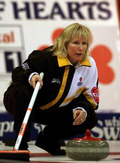 Skip Connie Laliberte watches a rock during a draw at the 1999 Scott Tournament of Hearts in Charlottetown.
