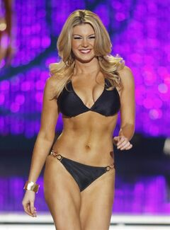 Miss New York Mallory Hytes Hagan competes in the swimsuit portion of the Miss America 2013 pageant on Saturday, Jan. 12, 2013, in Las Vegas. (AP Photo/Isaac Brekken)