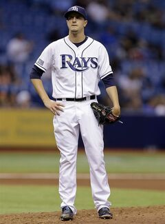 Tampa Bay Rays starting pitcher Jake Odorizzi reacts after Baltimore Orioles' Adam Jones hit a two-run home run during the sixth inning of a baseball game Monday, June 16, 2014, in St. Petersburg, Fla. (AP Photo/Chris O'Meara)
