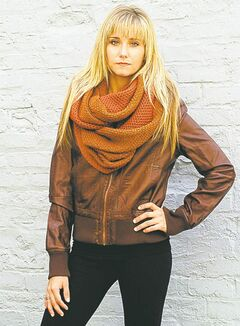 Brown leatherette classic bomber jacket, Catwalk Studio, $74.99