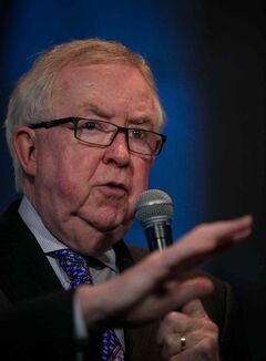Former Prime Minister Joe Clark answers a question at the Winnipeg Free Press News Cafe on Wednesday. Clark's appearance was part of a book tour for 'How We Lead: Canada in a Century of Change.'