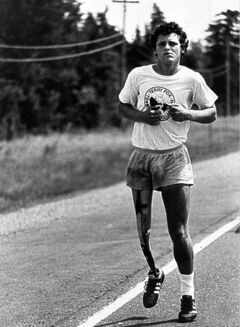 Terry Fox runs his Marathon of Hope in June 1981.