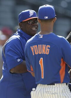 New York Mets batting coach Lamar Johnson talks to Chris Young (1) during batting practice before a baseball game against the Pittsburgh Pirates Tuesday, May 27, 2014, in New York. (AP Photo/Frank Franklin II)