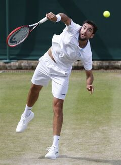 Marin Cilic of Croatia serves to Jeremy Chardy of France during their men's singles match at the All England Lawn Tennis Championships in Wimbledon, London, Monday, June 30, 2014. (AP Photo/Sang Tan)