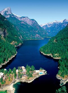 Aerial view looking into the Princess Louisa Inlet.