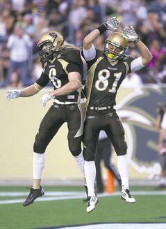 against the University of Alberta Golden Bears Friday night -See story- August 30, 2013 (JOE BRYKSA / WINNIPEG FREE PRESS)