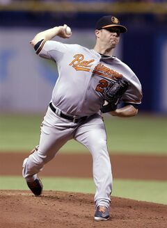 Baltimore Orioles starting pitcher Bud Norris delivers to Tampa Bay Rays' Desmond Jennings during the first inning of a baseball game Wednesday, May 7, 2014, in St. Petersburg, Fla. (AP Photo/Chris O'Meara)