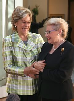 New Zealand's Dame Kiri Te Kanawa, left, meets with Bronwyn Bishop, speaker of the house of the Australian Parliament in Canberra, Thursday, May 15, 2014. Bishop is hosting a reception for the renowned Dame Kiri who is on her 70th Birthday Gala Tour. (AP Photo/Rick Rycroft)