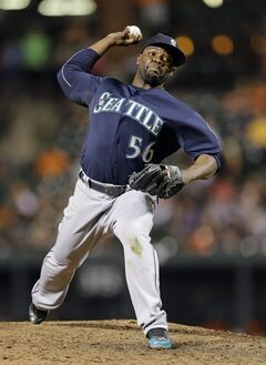 Seattle Mariners relief pitcher Fernando Rodney throws to the Baltimore Orioles in the ninth inning of a baseball game, Saturday, Aug. 2, 2014, in Baltimore. Seattle won 6-3. (AP Photo/Patrick Semansky)
