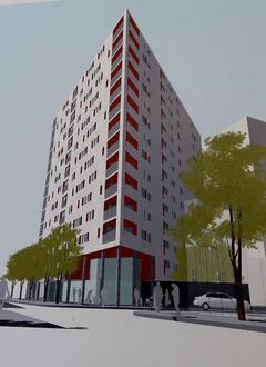 The drawing of the proposed apartment building which will be a mix of low-cost housing units and regular rental units.