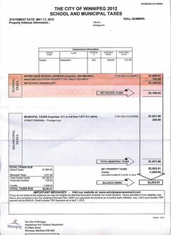 City of Winnipeg tax bill for 2012