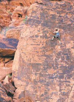 A climber ascends a rock face at Red Rock Canyon National Conservation Area in Nevada, May 5, 2006. Red Rock Canyon National Conservation Area. Red Rock, a federal Bureau of Land Management fee area, has for years quietly lured rock climbers, petroglyph photographers, bicyclists, long-distance runners and lunch-toting hikers.