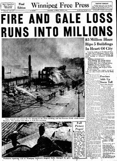 The Winnipeg Free Press front page on the devastating fire.