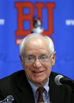 Boston head coach Jack Parker pauses during a college hockey news conference, Monday, March 11, 2013, in Boston. Parker announced that he is retiring after 40 years on a job in which he won almost 900 games and three national championships. (AP Photo/Elise Amendola)