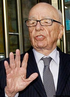 Rupert Murdoch addresses the media.