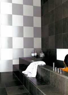 Painting squares in alternating finishes like flat and semi gloss, adds richness, charm and interest to a room.c_