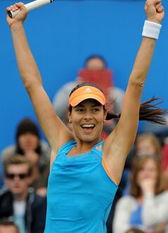 Serbia's Ana Ivanovic celebrates after winning the final against Czech Republic's Barbora Zahlavova Strycova at the Aagon Classic at Edgbaston Priory Club, Birmingham central England Sunday June 15, 2014. (AP Photo/Rui Vieira/PA) UNITED KINGDOM OUT NO SALES NO ARCHIVE